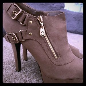 Military Green Guess Bootie Heels